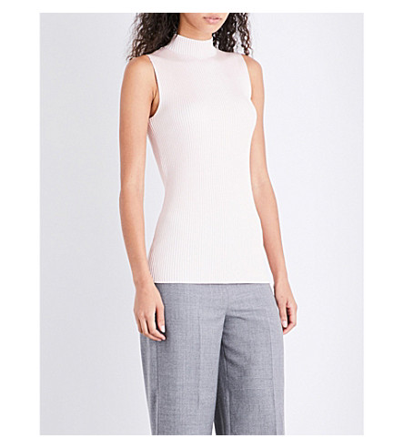 REISS Charlie high-neck knitted top (Neutral