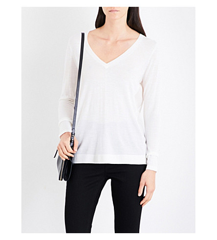 REISS Sally V-neck wool and silk jumper (Off+white