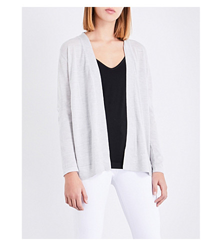 REISS Tanner wool and silk cardigan (Frost+grey