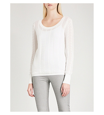 REISS Flora pointelle-knit jumper (Off+white