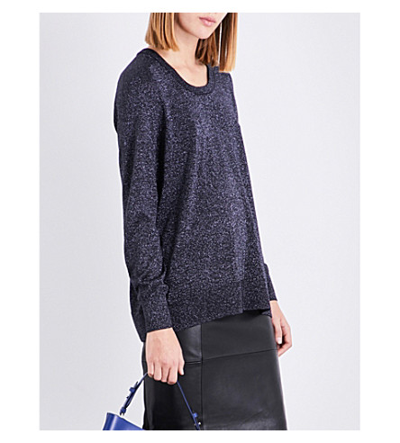 REISS Reagan metallic knitted top (Midnight