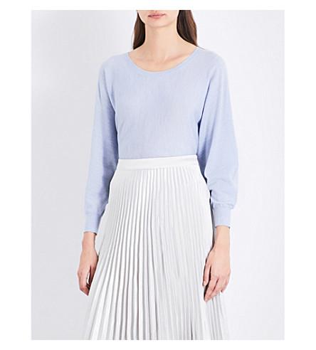 REISS Gianna merino wool top (Blue+melange