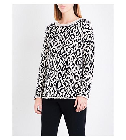 REISS Dulcie animal-print wool-blend jumper (Champagne/black