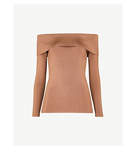 REISS Ximena off-the-shoulder stretch-knit top (Ginger