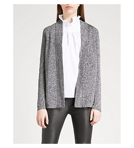 REISS Kimberley metallic-knit cardigan (Silver