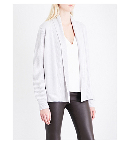 REISS Michelle shawl-lapel knitted cardigan (Grey
