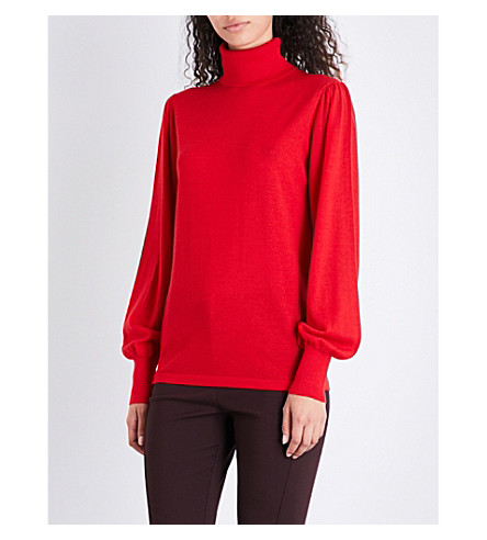 REISS Caroline turtleneck wool jumper (Red