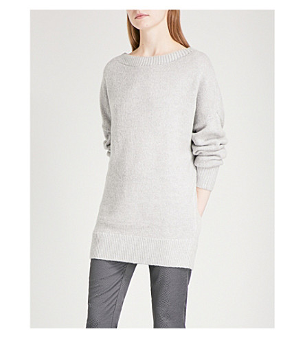 REISS Orla boat-neck knitted jumper (Grey