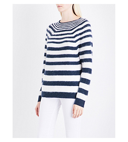 REISS Esha striped knitted jumper (White