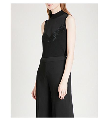REISS Hazel embellished-detail stretch-knit top (Black