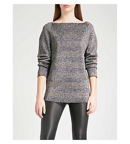 REISS Josephine striped metallic knitted jumper (Silver