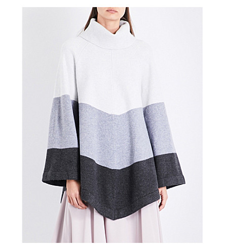 REISS Ezmae turtleneck knitted poncho (Neutral