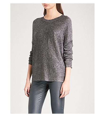 REISS Ada metallic-knit jumper (Black