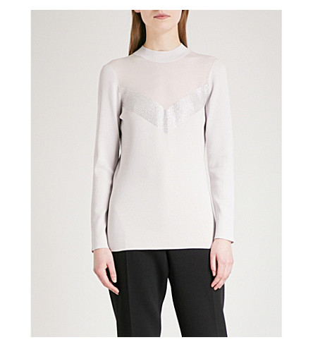 REISS Tracey sheer-panel knitted jumper (Powder+grey