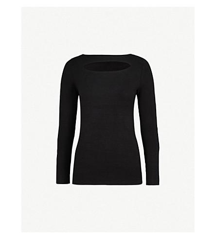 REISS Oria cutout-detail knitted jumper (Black