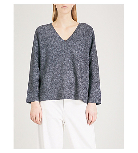 REISS Julietta metallic knitted jumper (Navy