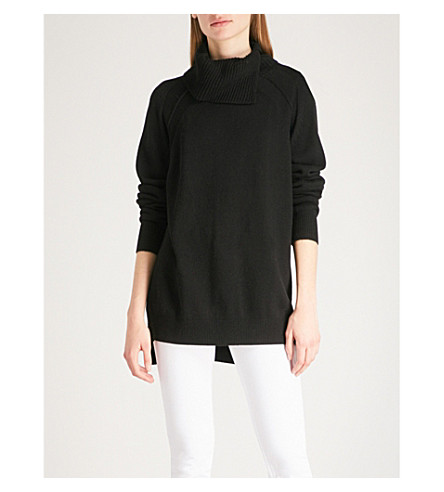 REISS Adele slashed turtleneck knitted jumper (Black