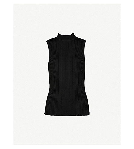 REISS Brinley sleeveless knitted top (Black