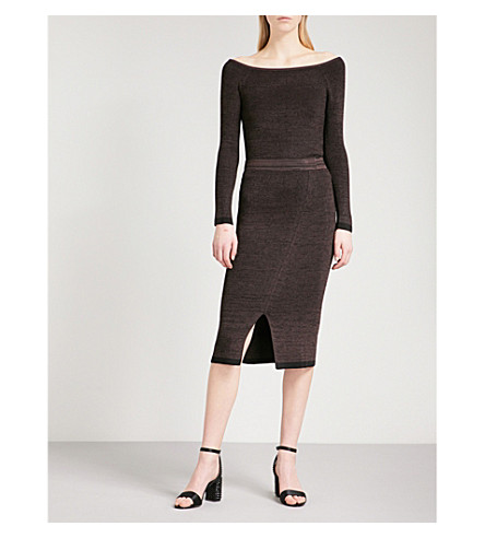 REISS Brooke off-the-shoulder knitted jumper (Chocolate