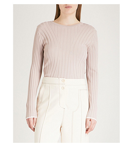 REISS Greca diagonal-panelling knitted jumper (Ash+pink