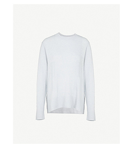REISS Rosaria reverse knitted jumper (Soft+blue