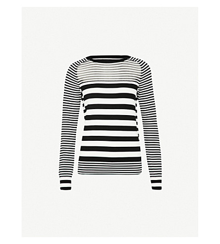 REISS Marlow striped knitted jumper (Black/white