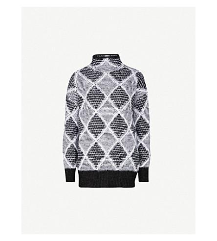 REISS Sophie diamond-pattern knitted jumper (Black/white