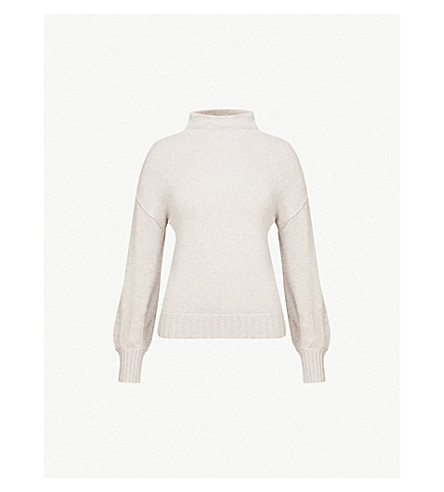 REISS Lara high-neck knitted jumper (Grey