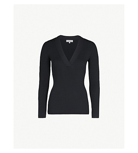 REISS Agnes ribbed stretch-knit top (Navy