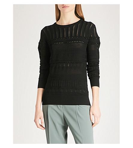 REISS Astrid pointelle-knit jumper (Black