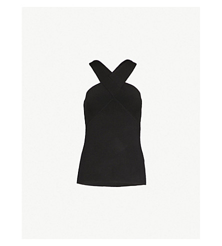 REISS Milano crossover-front stretch-knit halterneck top (Black