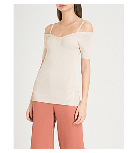 REISS Rosina cold-shoulder stretch-knit top (Apricot