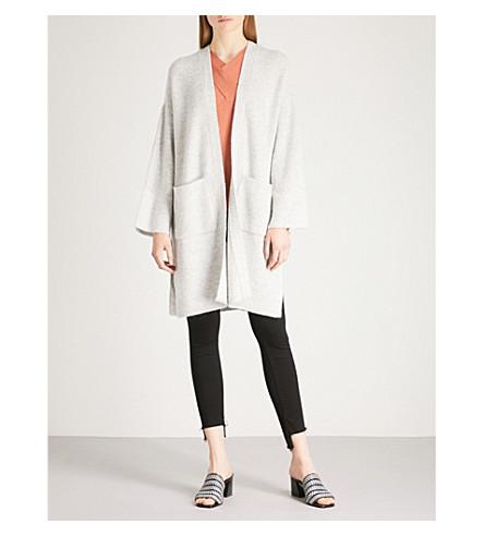 REISS Faye longline ribbed-knit cardigan (Grey