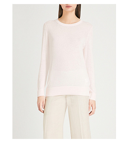 REISS Maya long-sleeved knitted jumper (Apricot