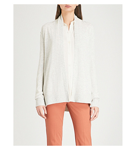 REISS Naomi relaxed-fit knitted cardigan (Grey