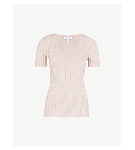 REISS Aster v-neck ribbed-knit top (Ash+pink
