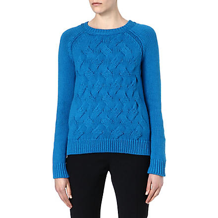 REISS Theola cable knit jumper (Blue