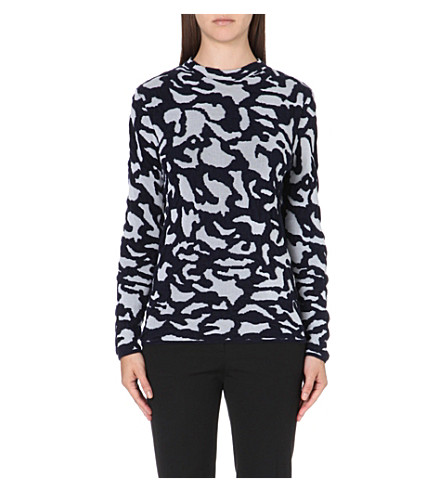 REISS Tessa intarsia camo jumper (Chalk/luxnavy