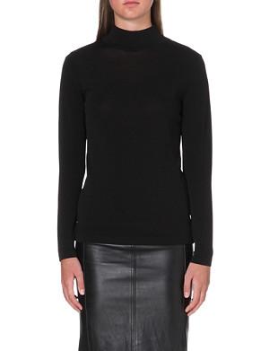 REISS Tulip zip-detail polo knit jumper