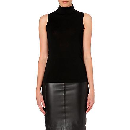 REISS Turin turtleneck sleeveless jumper (Black/white