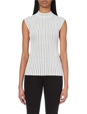 REISS Seine ribbed stretch-knit top