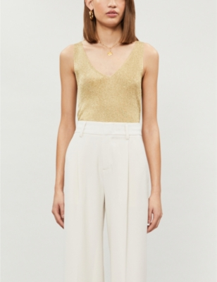 Alexis sleeveless metallic-knit top