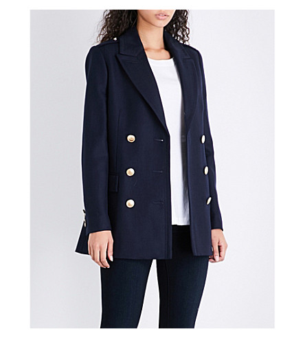 REISS Pax double-breasted wool coat (Night+navy