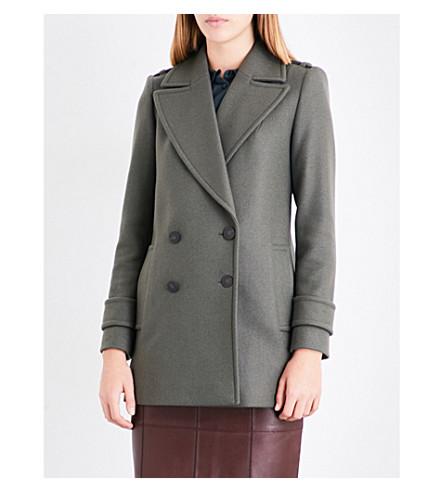 REISS Maida double-breasted wool-blend peacoat (Juniper