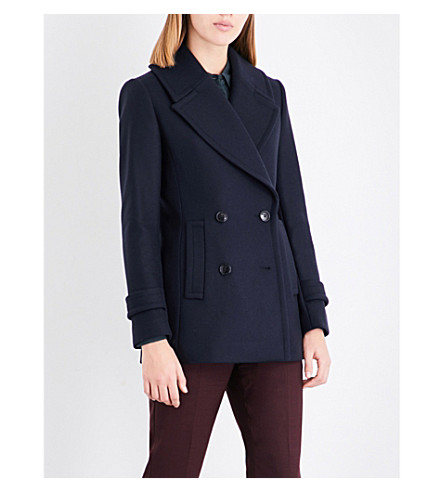 REISS Malia double-breasted wool-blend peacoat (Night+navy