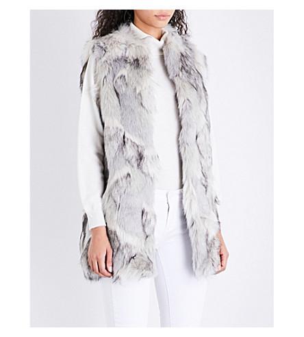 REISS Krista high-neck faux-fur gilet (Multi+grey