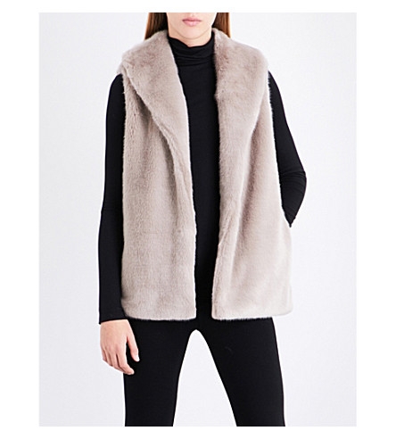 REISS Tora sleeveless faux-fur gilet (Sand