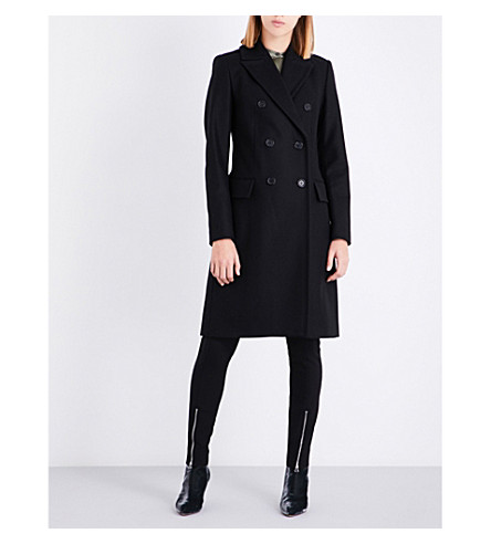 REISS Betty double-breasted wool-blend coat (Black