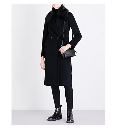 REISS Lawson faux-fur-trimmed wool coat (Black