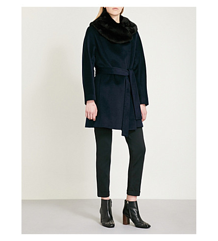 REISS Aeven faux-fur collar wool coat (Midnight